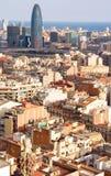 Opinión del pájaro de la torre de Agbar en Barcelona (España), Fotos de archivo libres de regalías