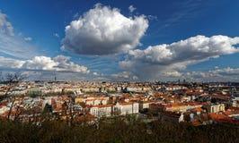 Opinión del pájaro de los edificios del tejado de tejas rojas Foto de archivo libre de regalías
