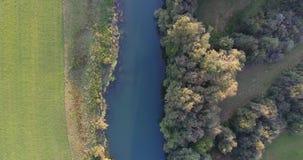 Opinión del pájaro del río siguiente rodeada con los campos metrajes