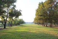 Opinión del paisaje de la perspectiva del parque público con la luz de la mañana Fotos de archivo