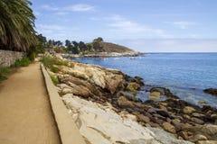 Opinión del paisaje de la playa de Zapallar fotografía de archivo