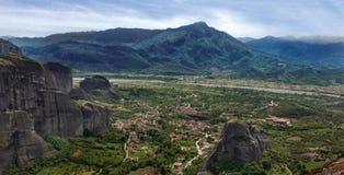 Opinión del paisaje de Meteora Imagen de archivo