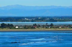 Opinión del paisaje del escupitajo Christchurch - Nueva Zelanda de Brighton Fotografía de archivo