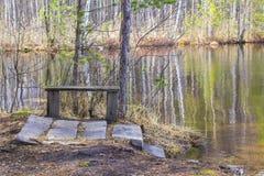 Opinión del paisaje del fondo del lago con el banco de madera Imagenes de archivo