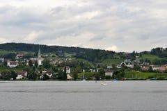 Opinión del paisaje del lago Zurich Imagen de archivo libre de regalías