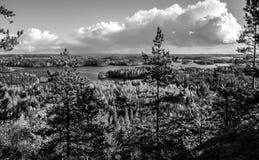 Opinión del paisaje en Finlandia durante el otoño blanco y negro Fotos de archivo