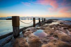 Opinión del paisaje marino en la salida del sol Fotos de archivo libres de regalías