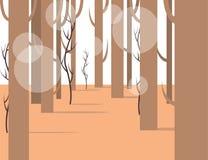 Opinión del panorama del bosque con los elementos planos ilustración del vector