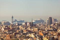 Opinión del panorama de Barcelona Imagen de archivo libre de regalías