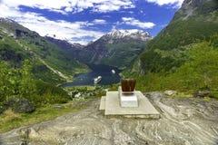 Opinión del panorama de Geiranger Fotografía de archivo libre de regalías