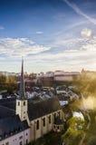 Opinión del panorama de la ciudad de Luxemburgo Foto de archivo libre de regalías