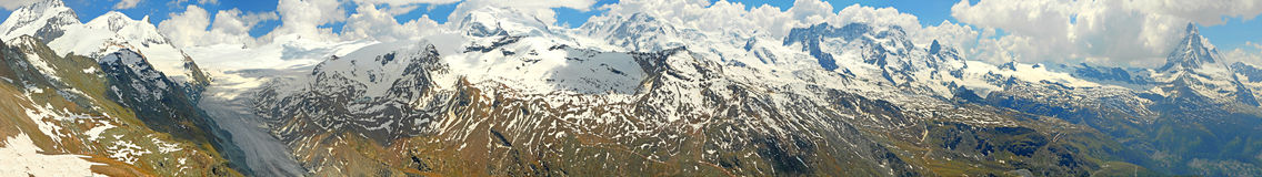 Opinión del panorama de la montaña con el glaciar Foto de archivo libre de regalías