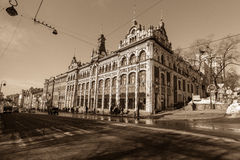 Opinión del panorama de la perspectiva sobre el GIMNASIO, Vladivostok Fotografía de archivo