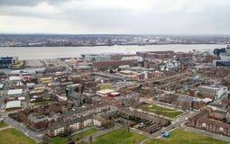 Opinión del panorama de Liverpool Fotos de archivo