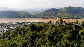 Opinión del panorama de Luang Prabang Laos Phou superior Si, la colina que domina la ciudad, ubicación popular para la puesta del metrajes