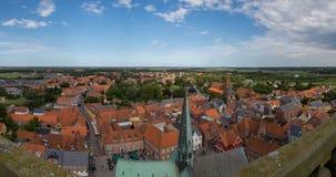 Opinión del panorama de Ribe, Dinamarca Imagen de archivo libre de regalías