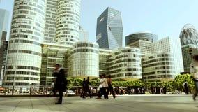 Opinión del panorama del horizonte de la ciudad Distrito financiero moderno almacen de metraje de vídeo
