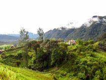 Opinión del panorama del paisaje del campo en la montaña Foto de archivo libre de regalías