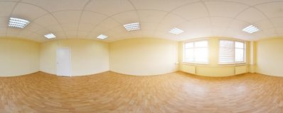 opinión del panorama 360 en el interior vacío moderno del apartamento, panorama inconsútil de los grados Imágenes de archivo libres de regalías