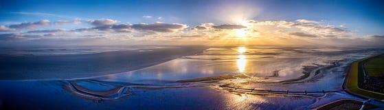 Opinión del panorama del Mar del Norte en suma del ¼ de BÃ Foto de archivo