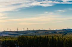 Opinión del prado con el windill moderno en el otoño en la puesta del sol Imagen de archivo