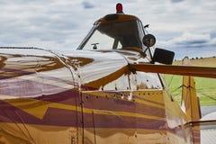 Opinión del primer del aeroplano agrícola de Zlin Z-37 Cmelak del exterior hecho en Checoslovaquia Imágenes de archivo libres de regalías