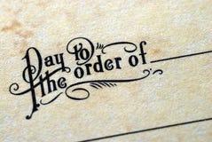 Opinión del primer de âPay a la orden Ofâ Imagen de archivo