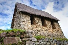 Opinión del primer de Machu Picchu para empedrar la casa Foto de archivo libre de regalías