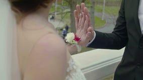 Opinión del primer de manos conmovedoras de recienes casados almacen de video