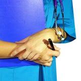 Opinión del primer de una comprobación de la mano del ` s del doctor Imágenes de archivo libres de regalías