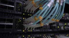 Opinión del primer del interruptor de Internet moderno con los cables de Ethernet tapados metrajes