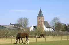 Opinión del pueblo con la iglesia, los caballos y la yarda antiguos de la fruta Fotos de archivo libres de regalías