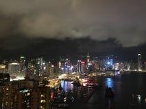 Opinión del puerto de Hong Kong de la opinión de la noche imagen de archivo
