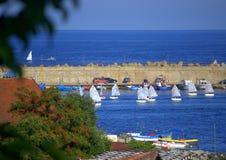 Opinión del puerto de Tsarevo, Bulgaria Fotos de archivo