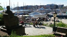 opinión del puerto deportivo de Oslo, Noruega almacen de metraje de vídeo