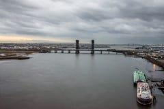 Opinión del río de Hackensack Imagen de archivo libre de regalías