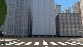 Opinión del rastro a través de la ciudad 3D rinden la animación stock de ilustración