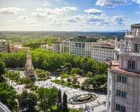 Opinión del tejado Plaza de España en la puesta del sol fotografía de archivo libre de regalías