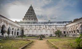 Opinión del templo de Durbar Pasillo del palacio de Thanjavur fotos de archivo