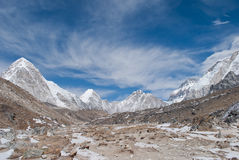 Opinión del valle de Everest Imagen de archivo