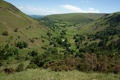 Opinión del valle de Pistyll Rhaeadr, País de Gales Imagen de archivo