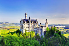 Opinión del verano del castillo de Neuschwanstein Fotografía de archivo