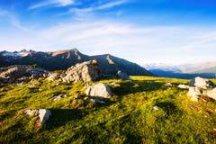 Opinión del verano del prado de la montaña en los Pirineos Imagenes de archivo