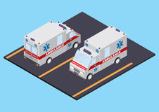 Opinión delantera y trasera de la ambulancia Imagenes de archivo