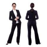 Opinión delantera y trasera la mujer de negocios joven aislada en blanco Fotos de archivo