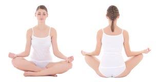 Opinión delantera y trasera la mujer delgada en la ropa interior del algodón que hace yoga Imágenes de archivo libres de regalías