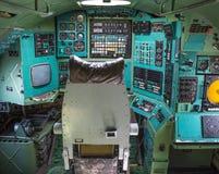 Opinión dentro del avión de pasajeros, museo de la carlinga de Poltava Fotos de archivo