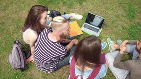 Opinión desde arriba de los estudiantes jovenes que se sientan en la hierba que comunica metrajes