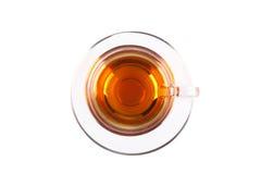 Opinión desde arriba sobre la taza de cristal de té Fotos de archivo