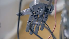 Opinión detallada sobre una mano inmóvil gris de los robots almacen de video